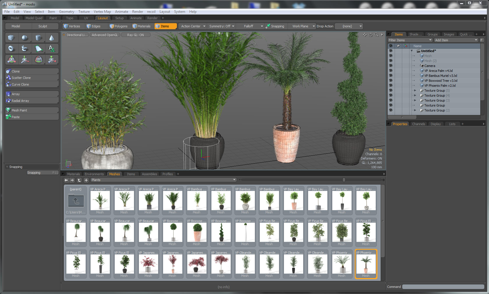 Interior Plants - MODO asset browser