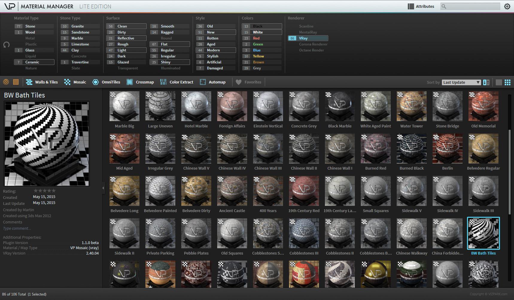 PLUGIN updates for Walls & Tiles, Crossmap, Mosaic - VIZPARK™