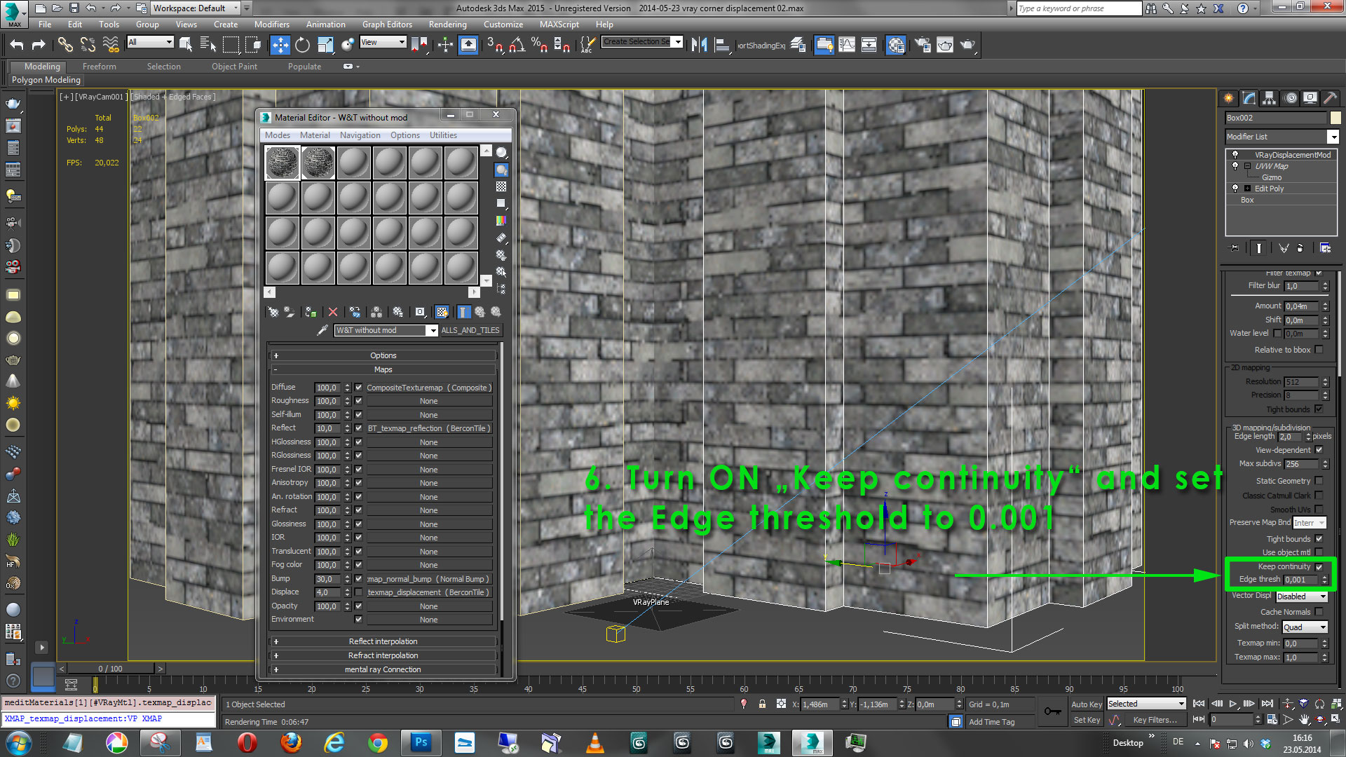 Correct Corner Displacement In Vray With Walls Amp Tiles